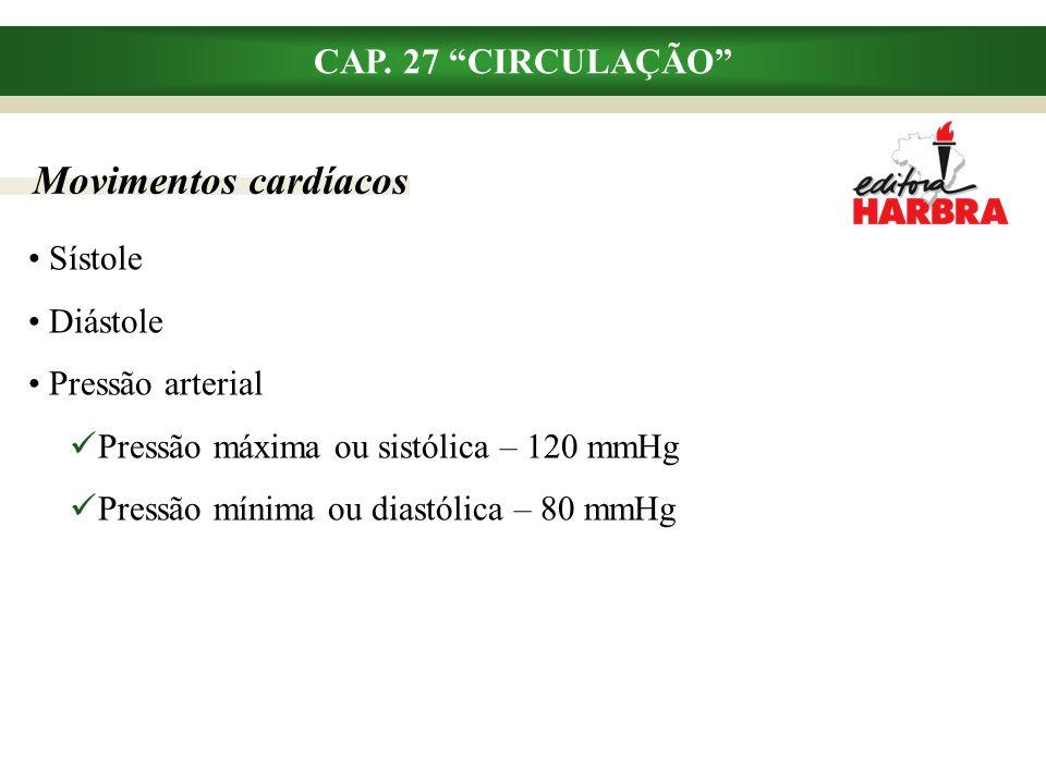 Movimentos cardíacos CAP. 27 CIRCULAÇÃO Sístole Diástole