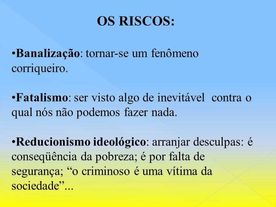 OS RISCOS: Banalização: tornar-se um fenômeno corriqueiro.