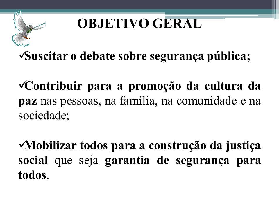 OBJETIVO GERAL Suscitar o debate sobre segurança pública;