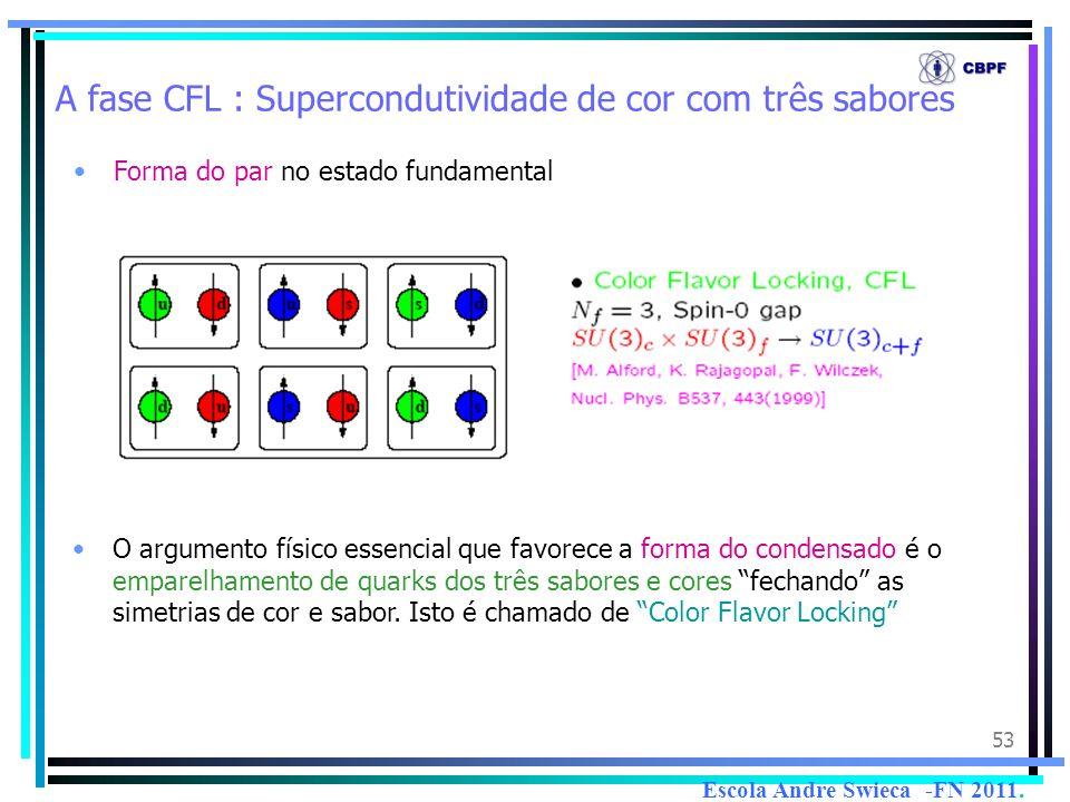 A fase CFL : Supercondutividade de cor com três sabores