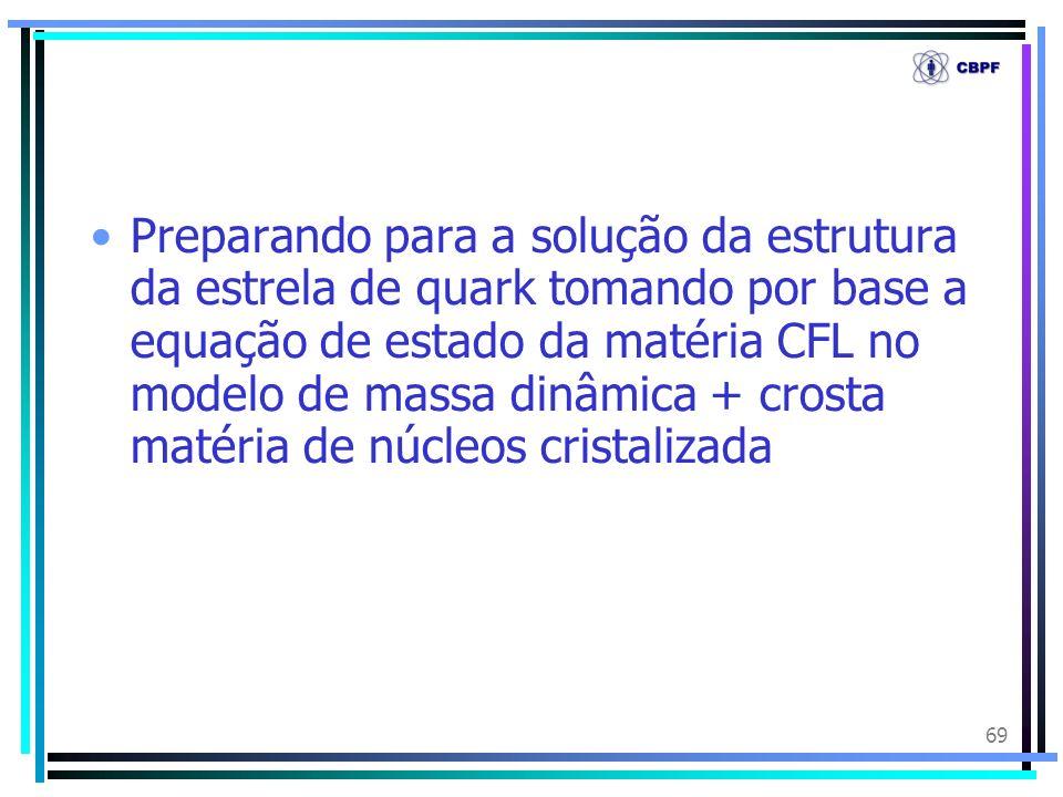 Preparando para a solução da estrutura da estrela de quark tomando por base a equação de estado da matéria CFL no modelo de massa dinâmica + crosta matéria de núcleos cristalizada