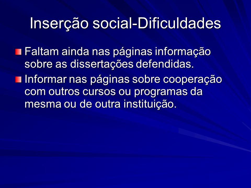 Inserção social-Dificuldades