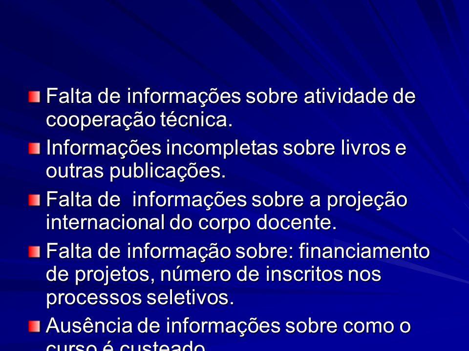 Falta de informações sobre atividade de cooperação técnica.