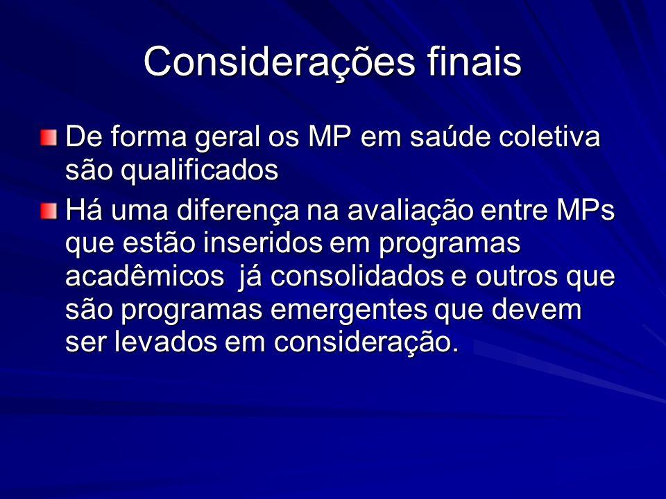 Considerações finais De forma geral os MP em saúde coletiva são qualificados.