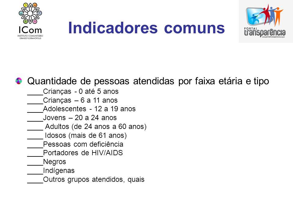Indicadores comuns Quantidade de pessoas atendidas por faixa etária e tipo. ____Crianças - 0 até 5 anos.