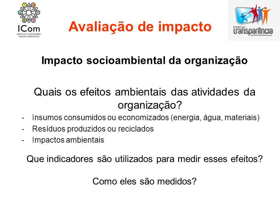 Impacto socioambiental da organização
