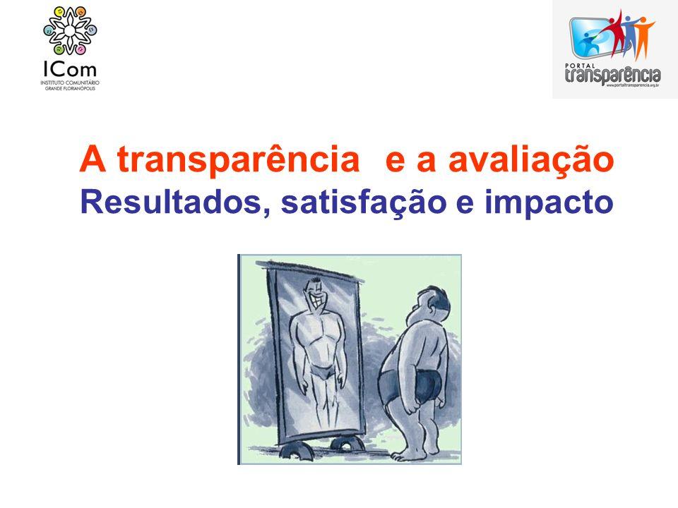 A transparência e a avaliação Resultados, satisfação e impacto