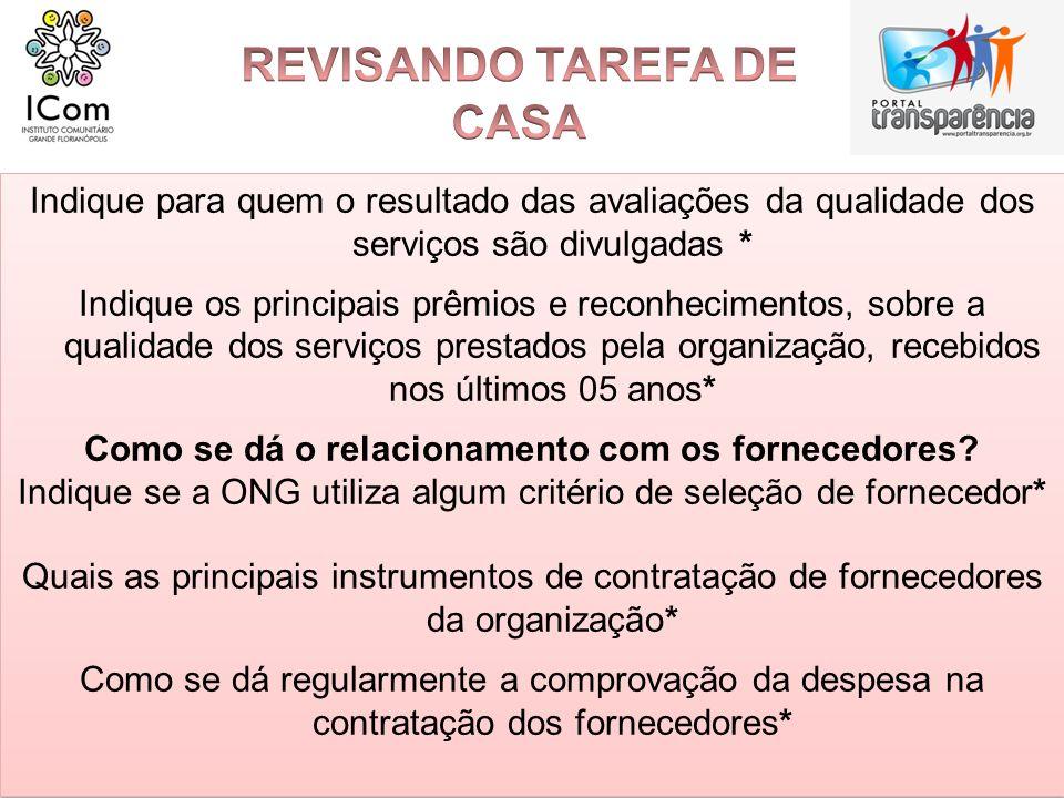 REVISANDO TAREFA DE CASA