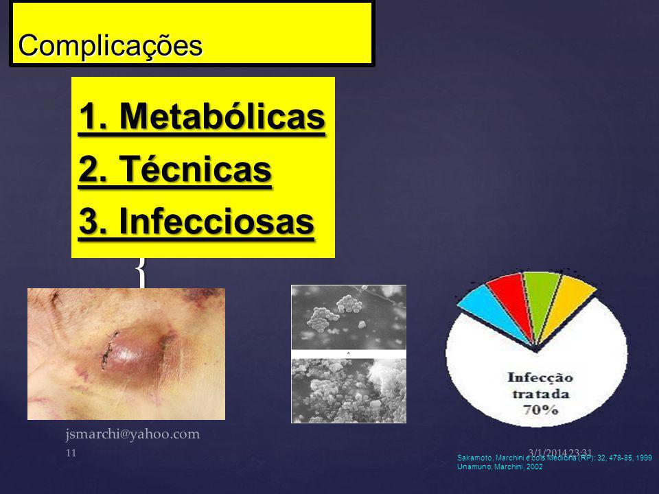 1. Metabólicas 2. Técnicas 3. Infecciosas
