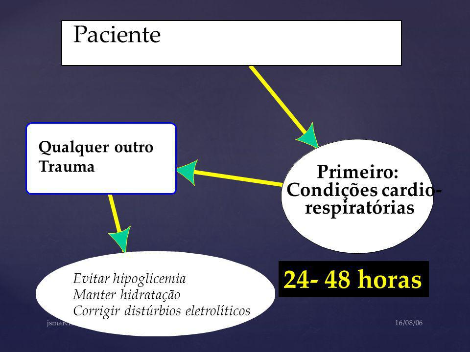 24- 48 horas Paciente Primeiro: Condições cardio- respiratórias