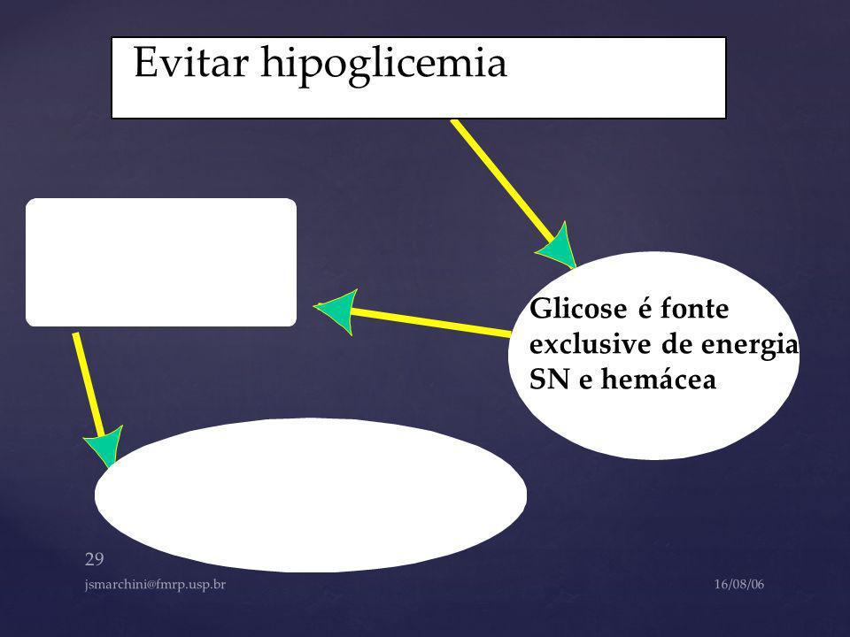 Evitar hipoglicemia Glicose é fonte exclusive de energia SN e hemácea