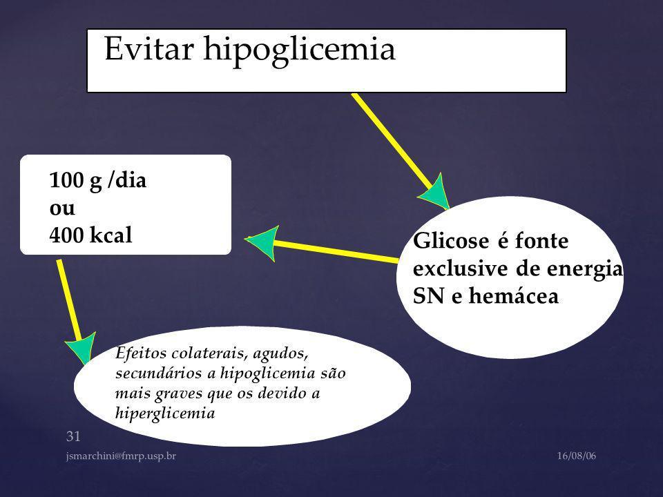 Evitar hipoglicemia 100 g /dia ou 400 kcal Glicose é fonte