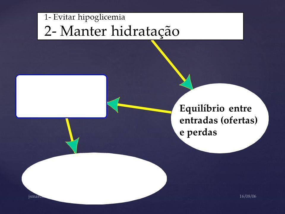 2- Manter hidratação Equilíbrio entre entradas (ofertas) e perdas
