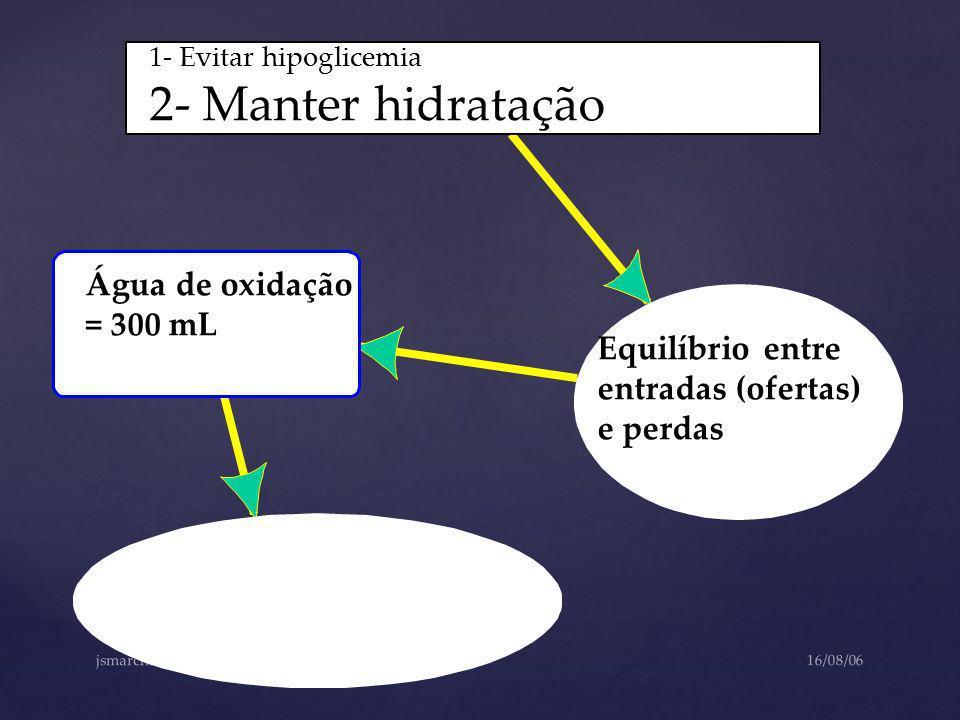 2- Manter hidratação Água de oxidação = 300 mL Equilíbrio entre