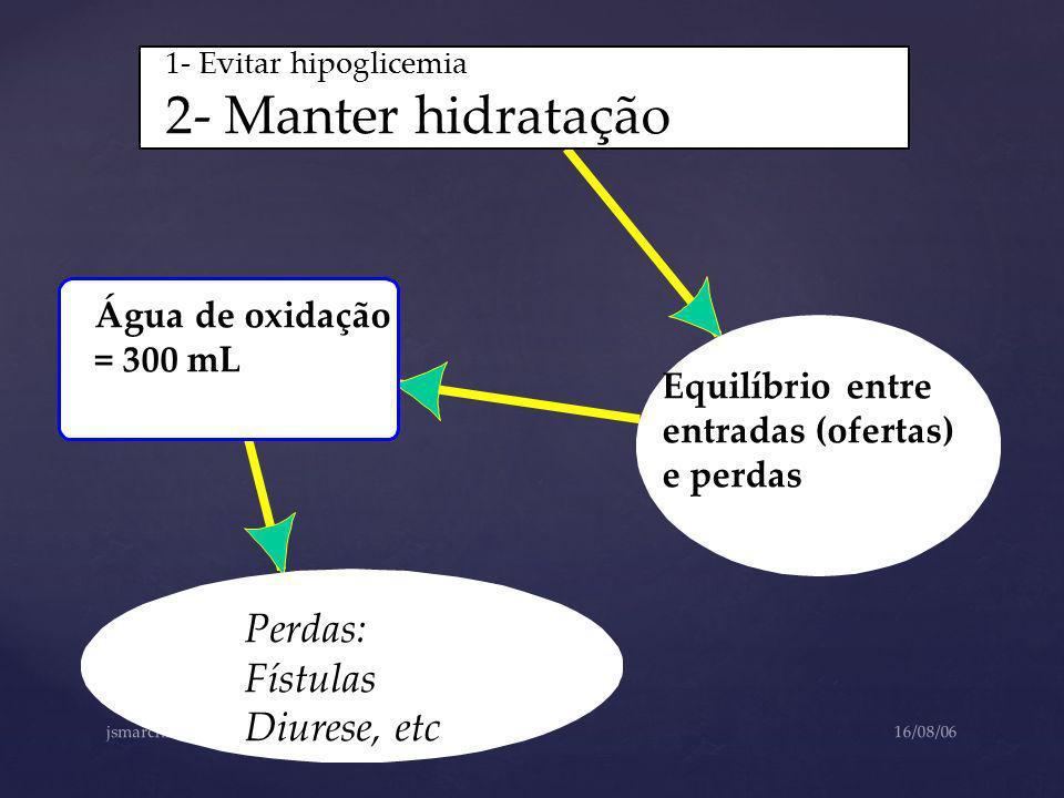 2- Manter hidratação Perdas: Fístulas Diurese, etc Água de oxidação
