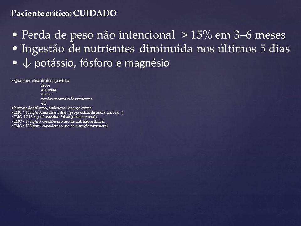 • Perda de peso não intencional > 15% em 3–6 meses