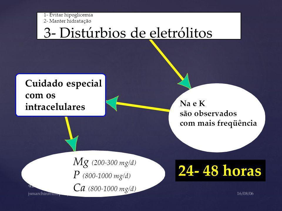 24- 48 horas 3- Distúrbios de eletrólitos Mg (200-300 mg/d)