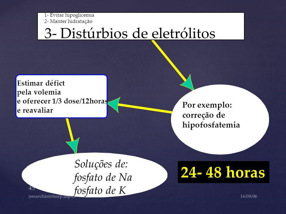 24- 48 horas 3- Distúrbios de eletrólitos Soluções de: fosfato de Na