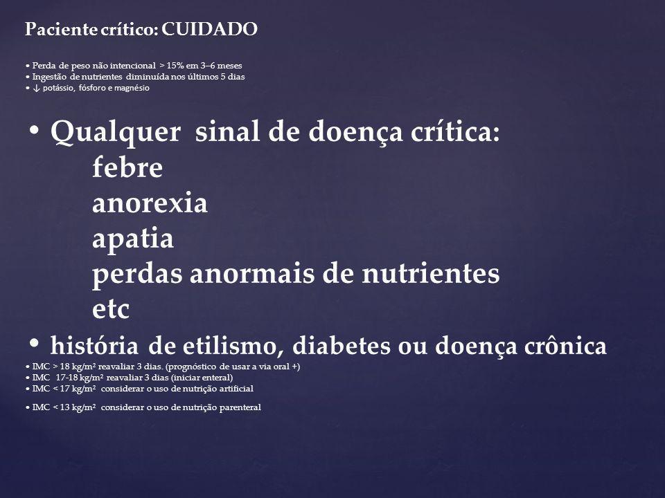• Qualquer sinal de doença crítica: febre anorexia apatia