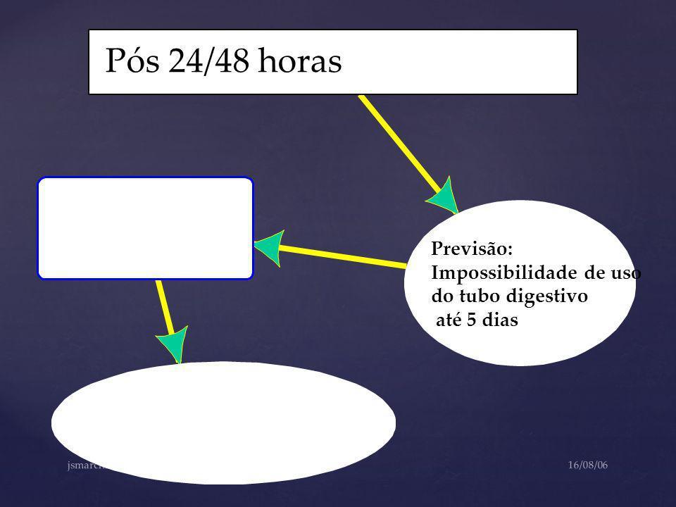 Pós 24/48 horas Previsão: Impossibilidade de uso do tubo digestivo