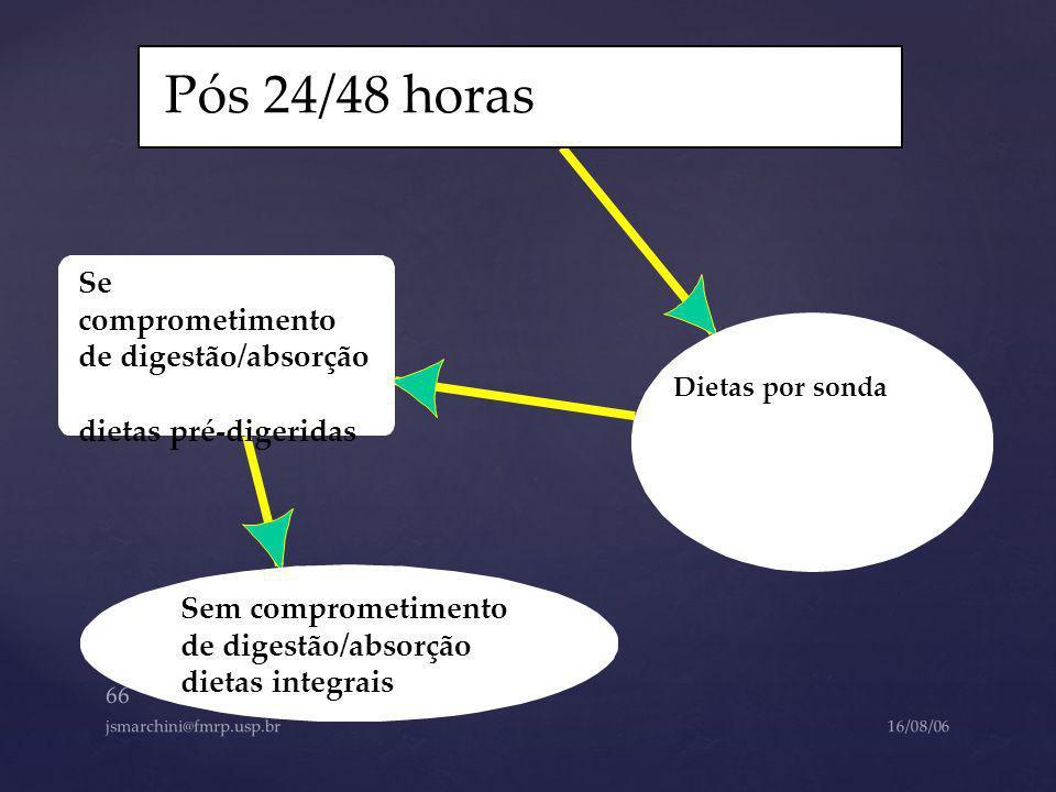 Pós 24/48 horas Se comprometimento de digestão/absorção