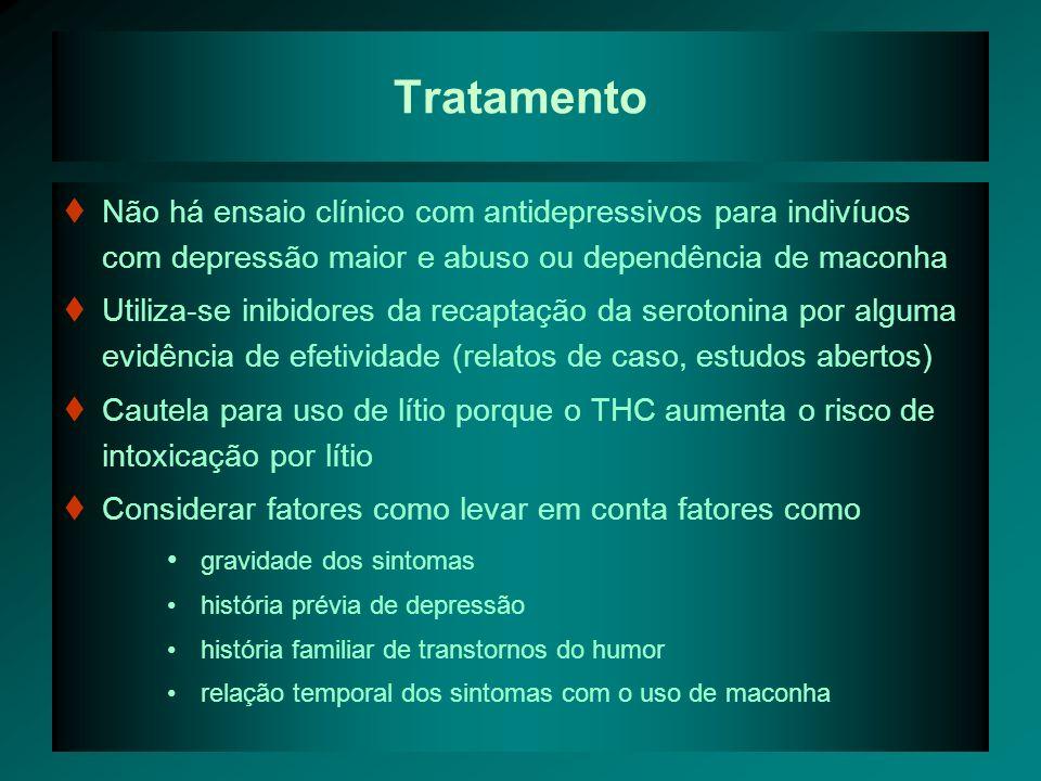 Tratamento Não há ensaio clínico com antidepressivos para indivíuos com depressão maior e abuso ou dependência de maconha.