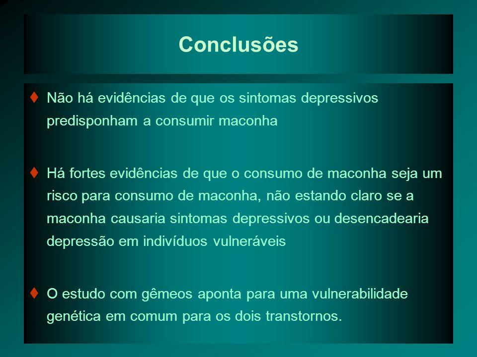 Conclusões Não há evidências de que os sintomas depressivos predisponham a consumir maconha.