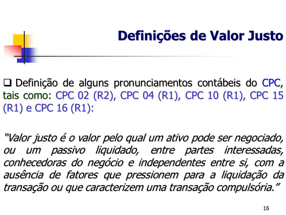 Definições de Valor Justo