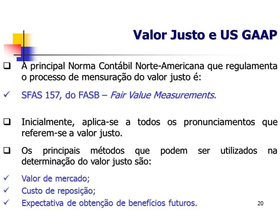Valor Justo e US GAAP A principal Norma Contábil Norte-Americana que regulamenta o processo de mensuração do valor justo é: