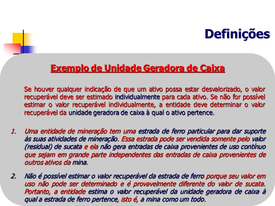 Exemplo de Unidade Geradora de Caixa