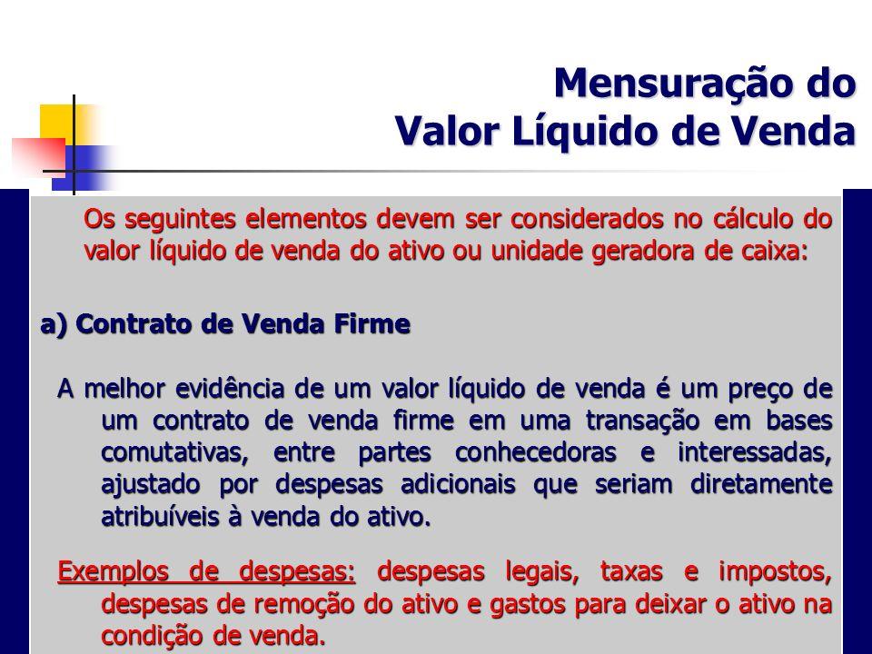 Mensuração do Valor Líquido de Venda a) Contrato de Venda Firme