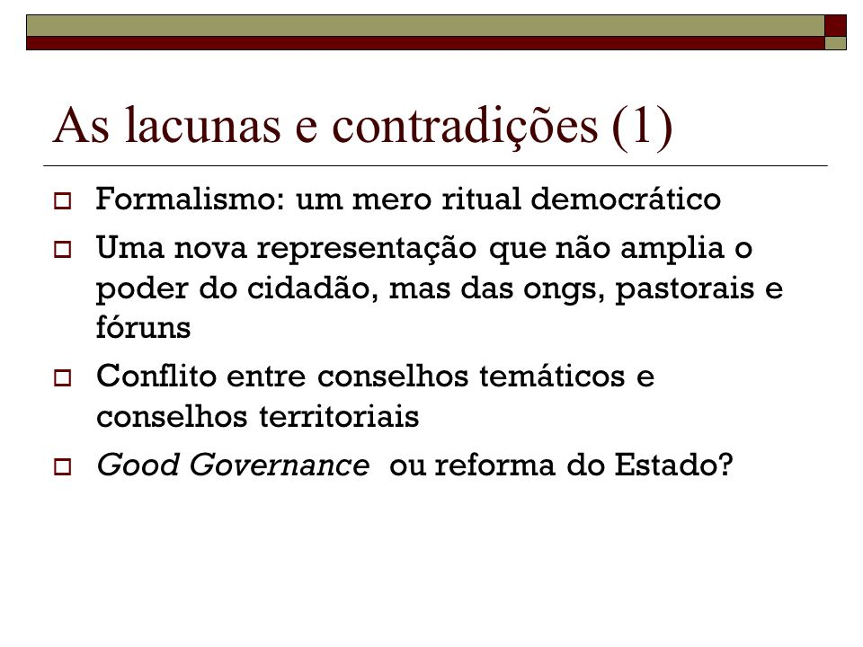 As lacunas e contradições (1)