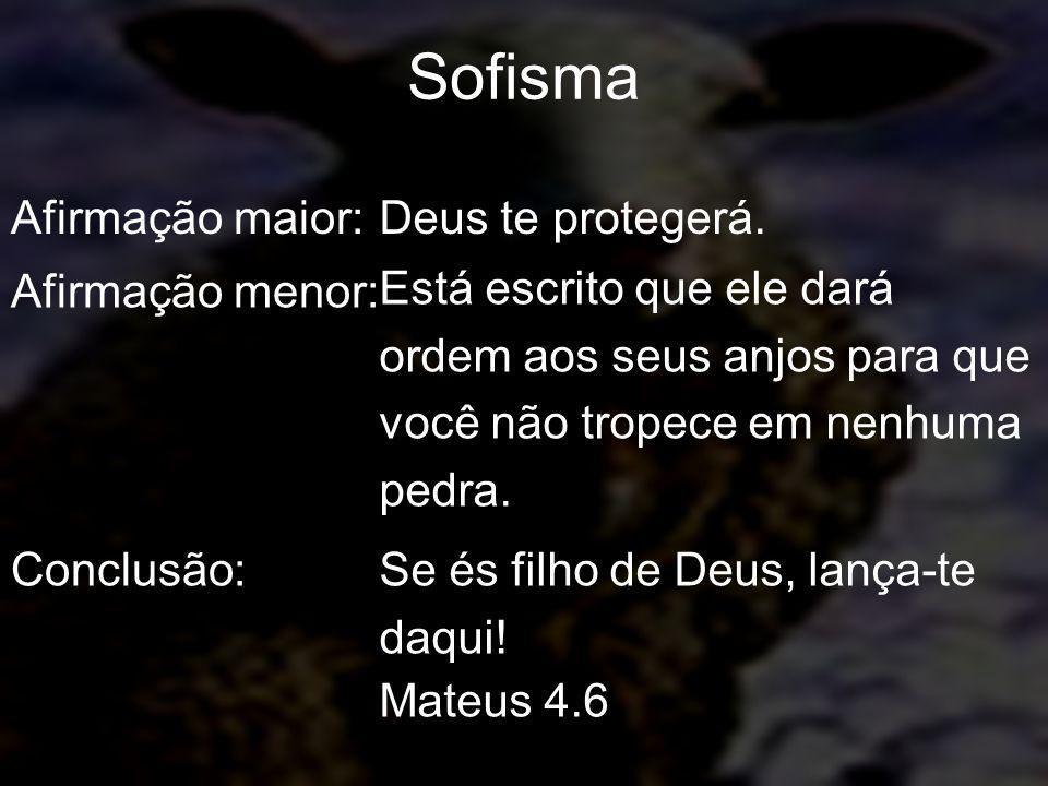 Sofisma Afirmação maior: Deus te protegerá. Afirmação menor: