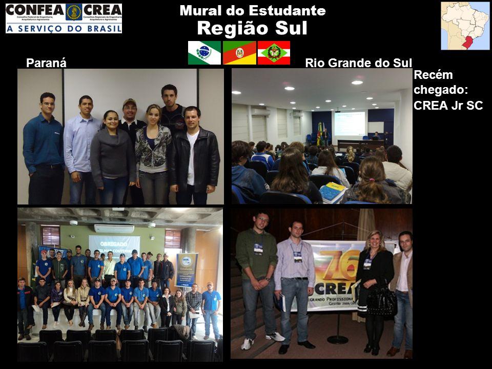 Região Sul Mural do Estudante Paraná Rio Grande do Sul Recém chegado: