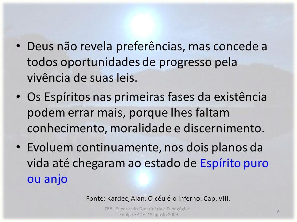 Deus não revela preferências, mas concede a todos oportunidades de progresso pela vivência de suas leis.