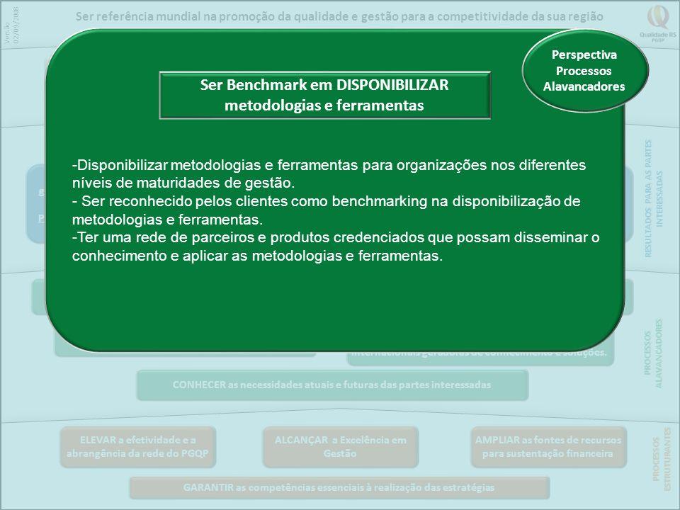 Ser Benchmark em DISPONIBILIZAR metodologias e ferramentas