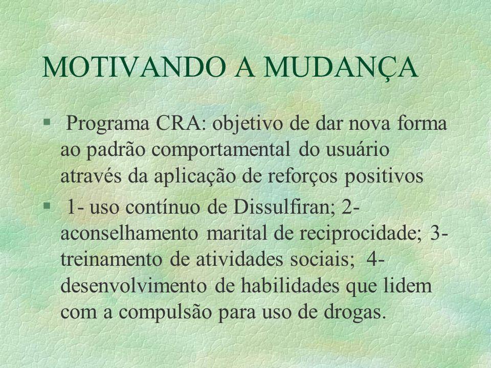 MOTIVANDO A MUDANÇA Programa CRA: objetivo de dar nova forma ao padrão comportamental do usuário através da aplicação de reforços positivos.