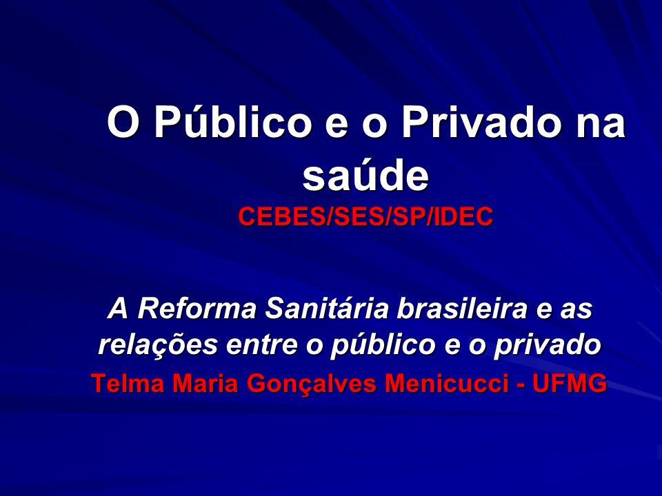 O Público e o Privado na saúde CEBES/SES/SP/IDEC