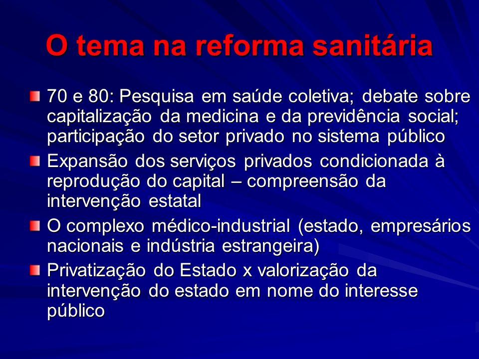 O tema na reforma sanitária