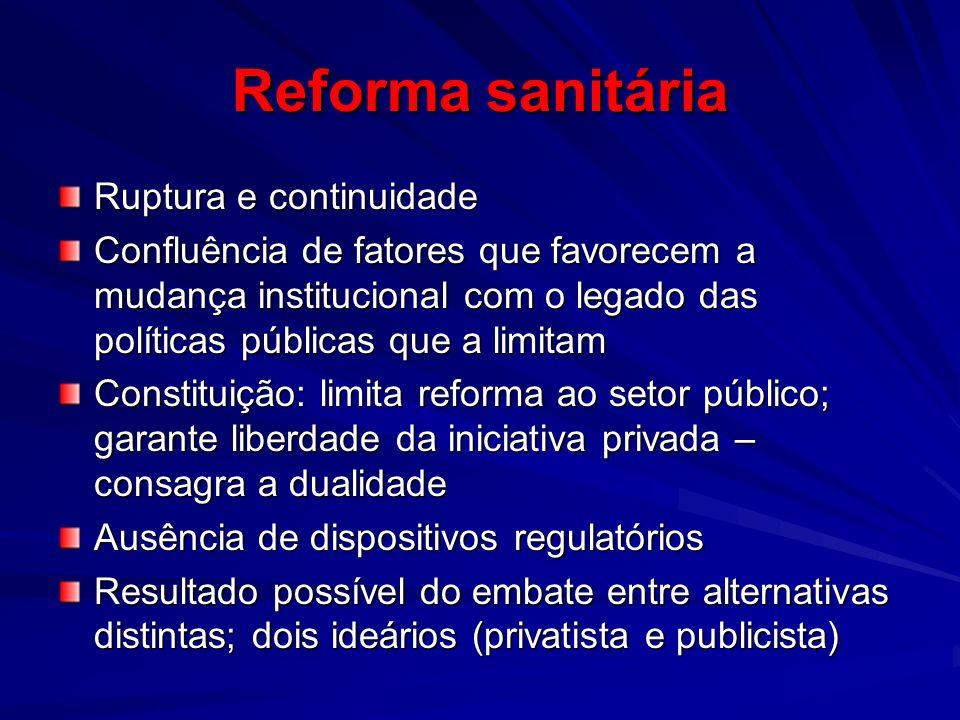 Reforma sanitária Ruptura e continuidade