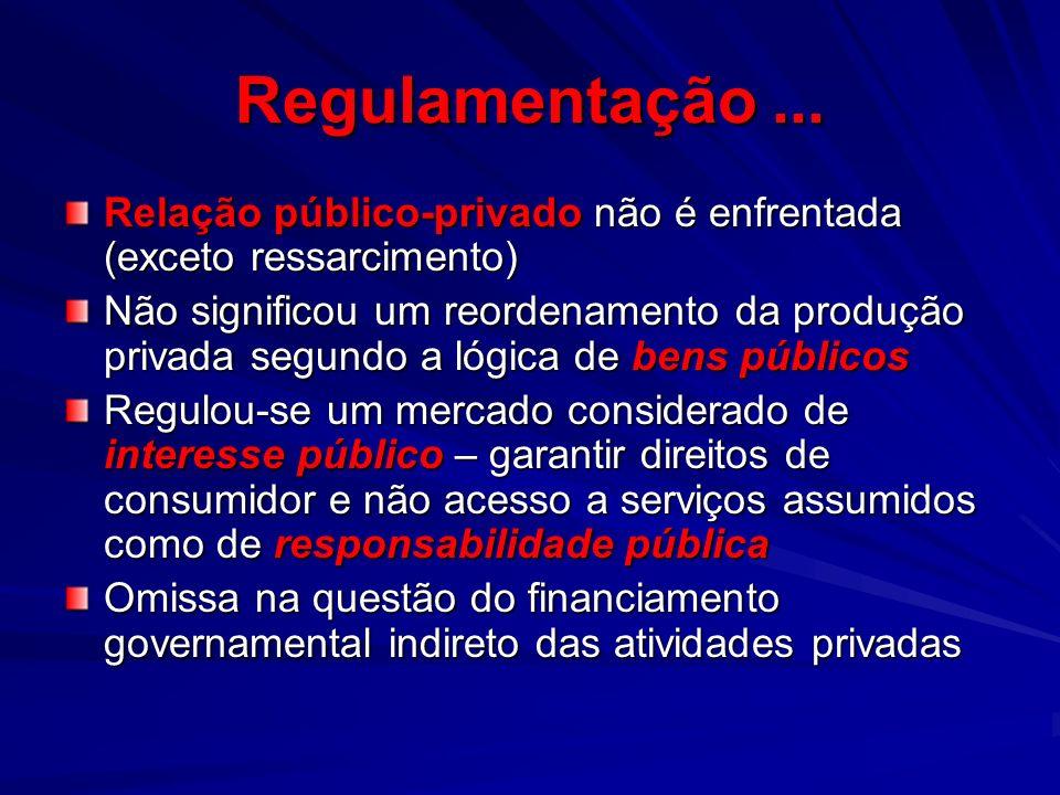 Regulamentação ... Relação público-privado não é enfrentada (exceto ressarcimento)