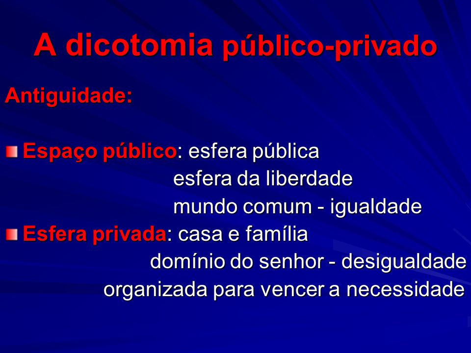 A dicotomia público-privado