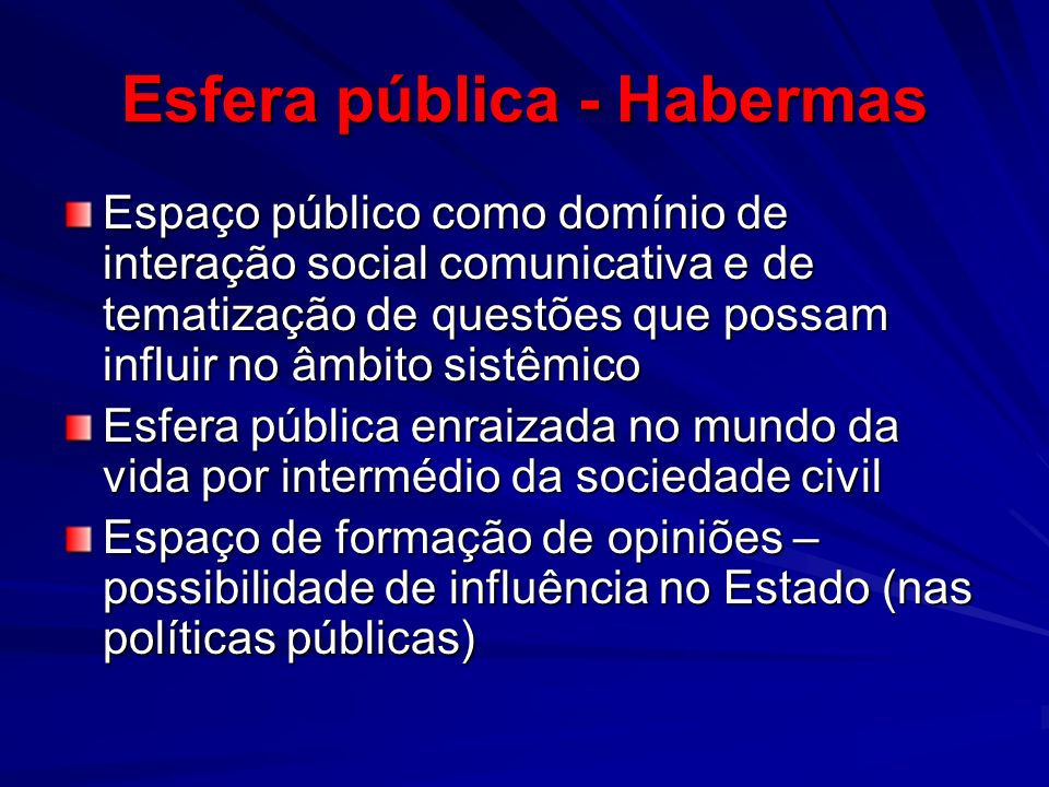 Esfera pública - Habermas