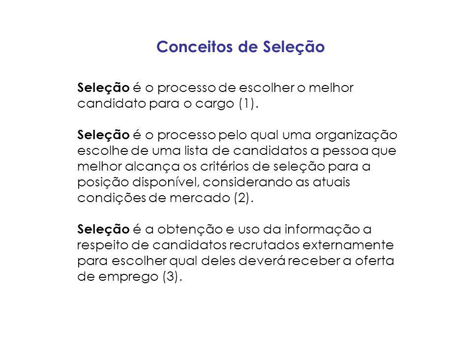 Conceitos de Seleção Seleção é o processo de escolher o melhor candidato para o cargo (1).