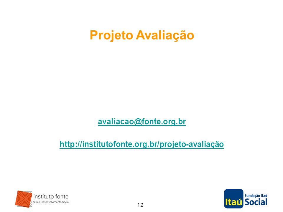Projeto Avaliação avaliacao@fonte.org.br