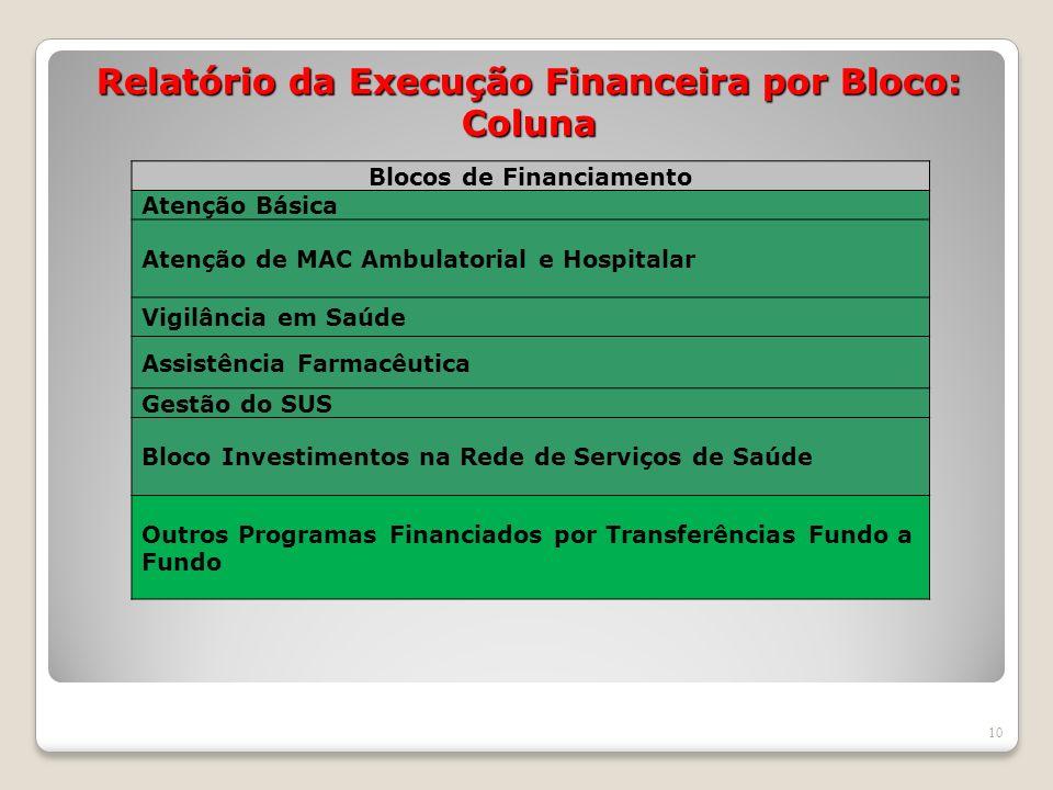 Relatório da Execução Financeira por Bloco: Coluna