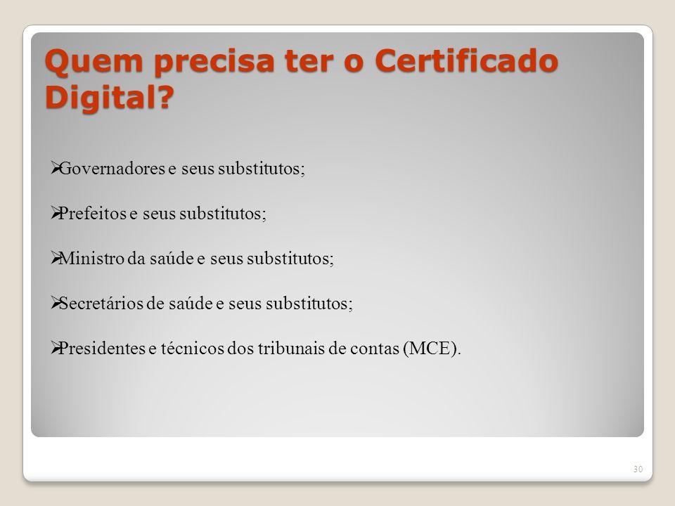 Quem precisa ter o Certificado Digital