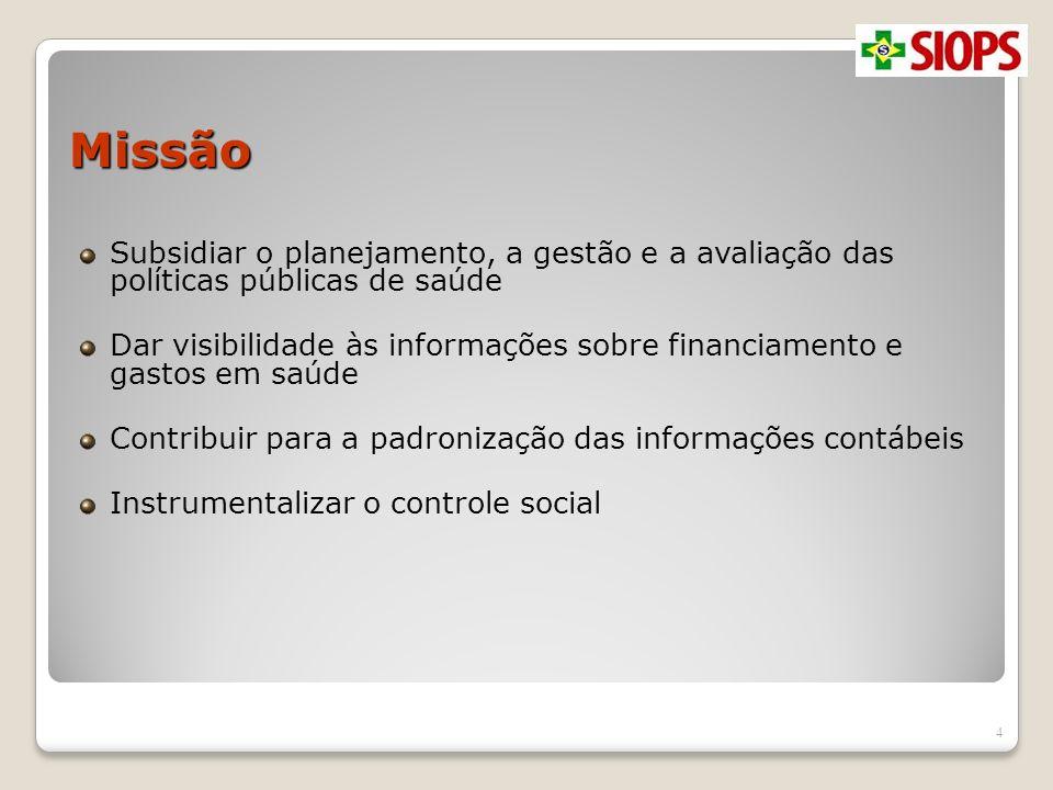 Missão Subsidiar o planejamento, a gestão e a avaliação das políticas públicas de saúde.