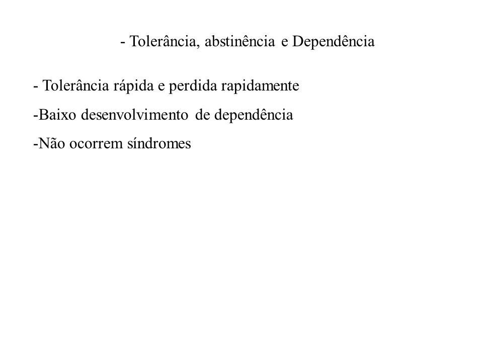 - Tolerância, abstinência e Dependência