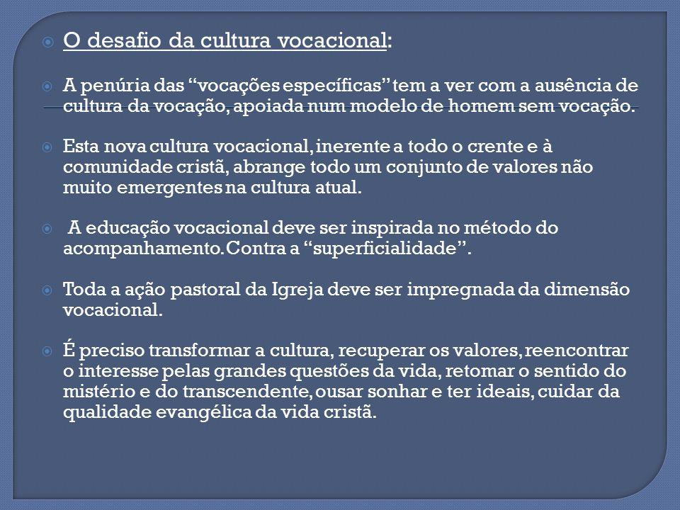 O desafio da cultura vocacional: